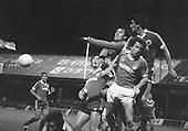 03/09/1980 Blackpool v Everton  League Cup 2nd Round 2nd Leg .Jim McDonagh punches clear under pressure from Colin Morris....© Phill Heywood.