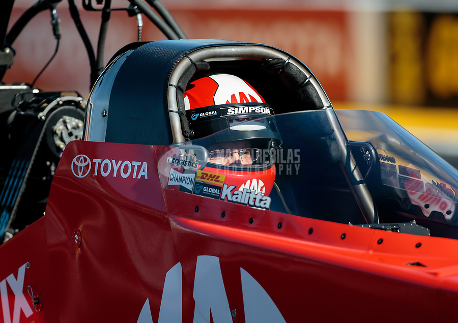 Feb 8, 2019; Pomona, CA, USA; NHRA top fuel driver Doug Kalitta during qualifying for the Winternationals at Auto Club Raceway at Pomona. Mandatory Credit: Mark J. Rebilas-USA TODAY Sports