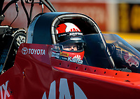 Feb 8, 2019; Pomona, CA, USA; NHRA top fuel driver Doug Kalitta during qualifying for the Winternationals at Auto Club Raceway at Pomona. Mandatory Credit: Mark J. Rebilas-USA TODAY Sports