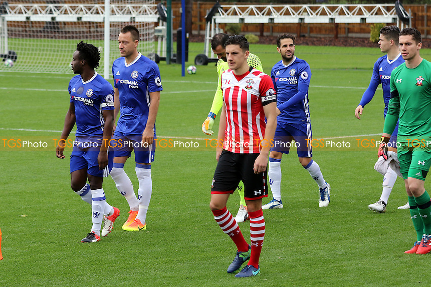 Chelsea's John Terry and Cesc Fabregas walk onto the pitch pre-match during Chelsea Under-23 vs Southampton Under-23, Premier League 2 Football at the Cobham Training Ground on 21st November 2016
