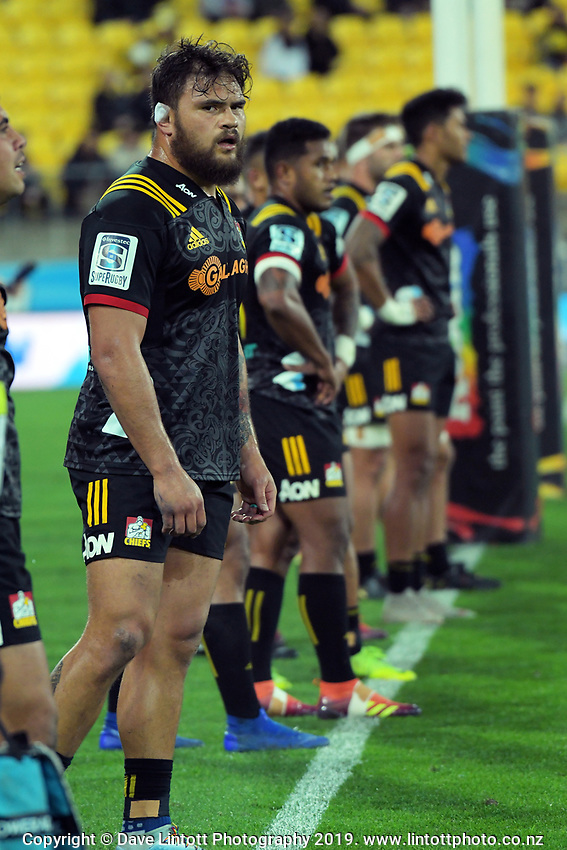 Chiefs' Angus Ta'avao during the Super Rugby match between the Hurricanes and Chiefs at Westpac Stadium in Wellington, New Zealand on Friday, 27 April 2019. Photo: Dave Lintott / lintottphoto.co.nz
