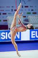 KATSIARYNA HALKINA of Belarus performs with hoop at 2016 European Championships at Holon, Israel on June 18, 2016.