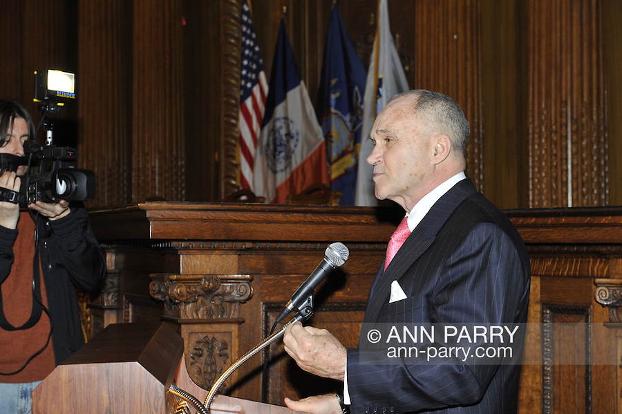 January 11, 2012 - Brooklyn, New York, USA: NYPD New York City Police Commissioner Ray Kelly delivering Keynote Speech at 2nd Annual Interfaith Memorial Service for Haiti, Wednesday night at Brooklyn Borough Hall. The service was held two years after the Mw 7.0 earthquake at Haiti.