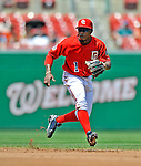 8 June 2008: Washington Nationals' infielder Willie Harris in action against the San Francisco Giants at Nationals Park in Washington, DC. The Nationals dropped the afternoon matchup to the Giants 6-3 in their third consecutive loss of the 4-game series...Mandatory Photo Credit: Ed Wolfstein Photo