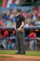 Umpire Sam Burch during a Southern League game between the Jacksonville Jumbo Shrimp and Mississippi Braves on May 4, 2019 at Trustmark Park in Pearl, Mississippi.  Mississippi defeated Jacksonville 2-0.  (Mike Janes/Four Seam Images)