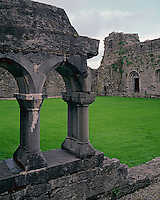 County Mayo, Ireland<br /> Arched doorways on the wester wall of the 11th century Cong Abbey viewed from across the green cloister
