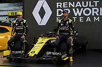 11th March 2020; Melbourne Grand Prix Circuit, Melbourne, Victoria, Australia; Formula One, Australian Grand Prix, Arrival Day; Renault drivers Esteban Ocon and Daniel Ricciardo at Renault car launch