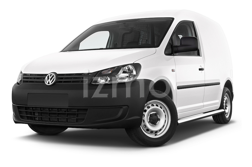 Stock pictures of low aggressive front three quarter view of a 2014 Volkswagen CADDY 1.6 TDI 4 Door Car Van Low Aggressive