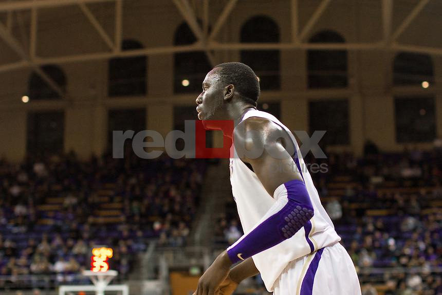 Aziz N'Diaye..---Washington Huskies men's basketball against the California Golden Bears at Alaska Airlines Arena at Hec Edmundson Pavilion in Seattle on Thursday, January 19, 2012. (Photo by Dan DeLong/Red Box Pictures)