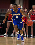 OMAHA, NE - January 10, 2015 -- Deondre Parks (0) of South Dakota State drives down court during the first half of their game against UNO Saturday evening at the Ralston Arena in Ralston, NE. (Photo By Ty Carlson / DakotaPress)