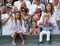 Mirka and Lynette celebrate Roger Federer's win over Marin Cilic (CRO) with their children, Wimbledon Championships 2017, Day 13, Mens Final, All England Lawn Tennis & Croquet Club, Church Rd, London, United Kingdom - 16th July 2017