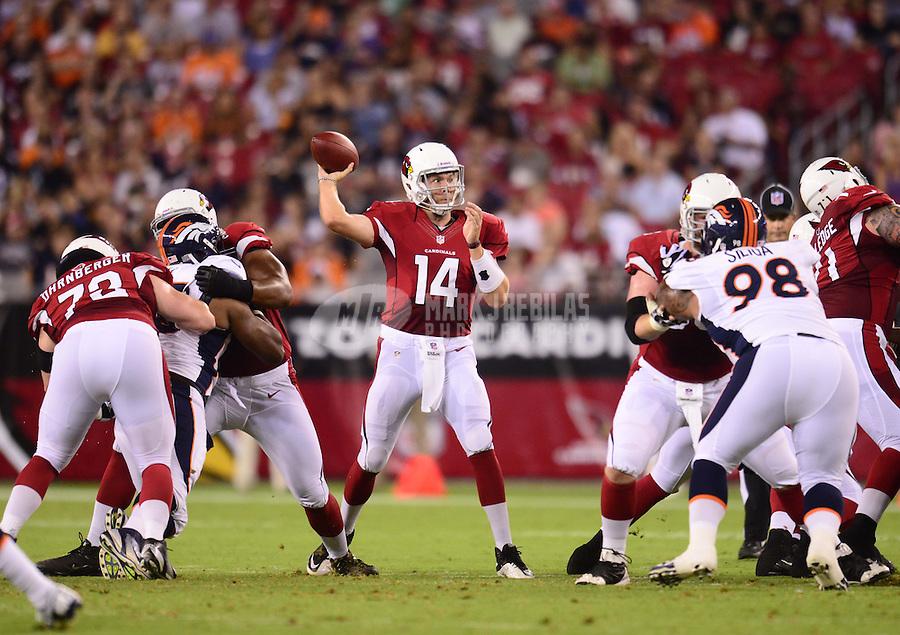 Aug. 30, 2012; Glendale, AZ, USA; Arizona Cardinals quarterback (14) Ryan Lindley throws a pass in the first quarter against the Denver Broncos during a preseason game at University of Phoenix Stadium. Mandatory Credit: Mark J. Rebilas-