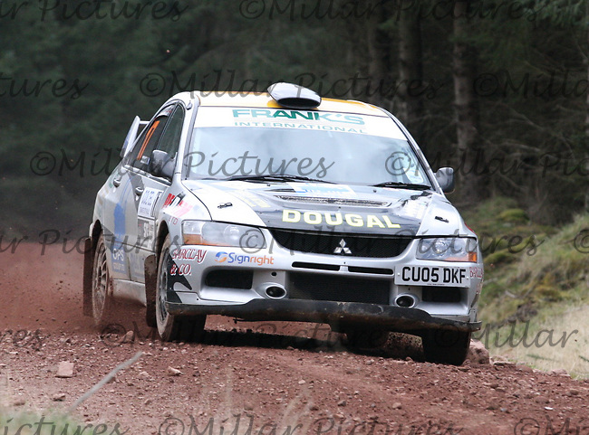 Dougal Brown / Lewis Rochford in a Mitsubishi Evolution 9 at Junction 8 on Whytes Cranes Special Stage 3 Drumtochty of the Coltel Granite City Rally 2012 which was based at the Thainstone Agricultural Centre, Inverurie.