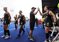 Graham Shaw and Alia Jaques during the Pro League Hockey match between the Blacksticks women and the USA, Nga Punawai, Christchurch, New Zealand, Sunday 16 February 2020. Photo: Simon Watts/www.bwmedia.co.nz