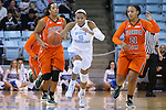 17 November 2015: North Carolina's Stephanie Watts (5) is chased by Florida A&M's Olivia Antilla (21). The University of North Carolina Tar Heels hosted the Florida A&M University Rattlers at Carmichael Arena in Chapel Hill, North Carolina in a 2015-16 NCAA Division I Women's Basketball game. UNC won the game 94-58.