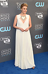 SANTA MONICA, CA - JANUARY 11: Actress Greta Gerwig attends The 23rd Annual Critics' Choice Awards at Barker Hangar on January 11, 2018 in Santa Monica, California.