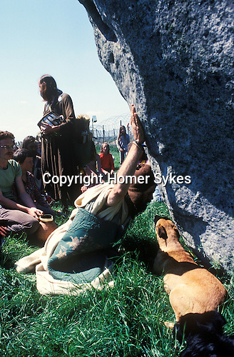 Bev Richardson known as Pagan Bev 1979. 1970's style hippies attend the second free festival at Stonehenge to celebrate the summer solstice June 21st 1970's.