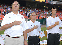 US Open Cup Quarterfinal, Red Bulls Head Coach Bruce Arena with assistant coaches Richie Williams and John Harkes during the National Anthem. DC United defeated the New York Red Bulls 3-1, Wednesday, August 23, 2006 at RFK Stadium.