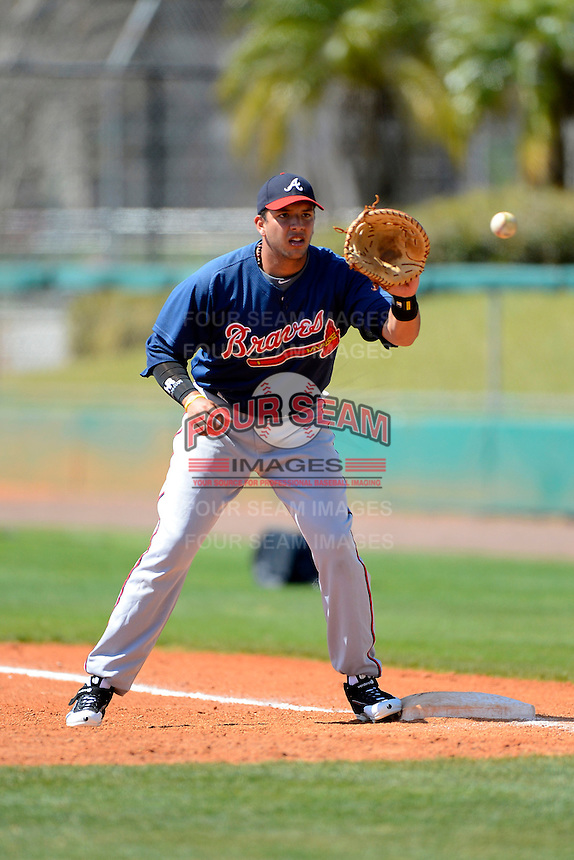 Atlanta Braves first baseman Edison Sanchez #67 during practice before a minor league Spring Training game against the Philadelphia Phillies at Al Lang Field on March 14, 2013 in St. Petersburg, Florida.  (Mike Janes/Four Seam Images)