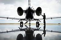 Hawker 900 XP in hanger