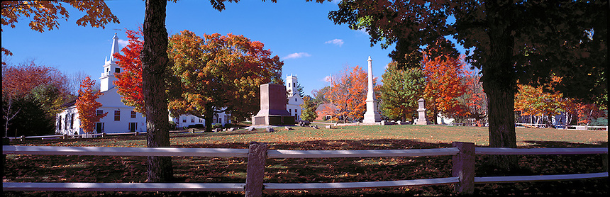 The town common in Temple, New Hampshire is surrounded by the town hall and the local church. Photograph by Peter E. Randall