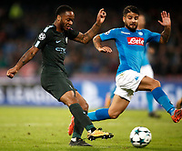 Football Soccer: UEFA Champions League Napoli vs Mabchester City San Paolo stadium Naples, Italy, November 1, 2017. <br /> Manchester City's Raheem Sterling scores during the Uefa Champions League football soccer match between Napoli and Manchester City at San Paolo stadium, November 1, 2017.<br /> UPDATE IMAGES PRESS/Isabella Bonotto
