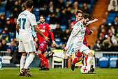 10th January 2018, Santiago Bernabeu, Madrid, Spain; Copa del Rey football, round of 16, 2nd leg, Real Madrid versus Numancia; Jose Fernandez Iglesias (Real Madrid) drives forward on the ball