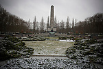 The 33.5m obelisk and 'Mother Homeland' statue at the Soviet cemetery and war memorial in Schoenholzer Heide in former East Berlin. The site was used as a forced labour camp by the Germans during World War II but transformed by the Soviets into the final resting place for around half of the 22,000 Red Army personnel killed during the battle for berlin in 1945. Today, much of the site lies dilapidated and the victim of casual vandalism and decay.