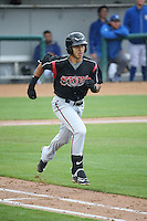 Javier Guerra (12) of the Lake Elsinore Storm runs to first base during a game against the Rancho Cucamonga Quakes at LoanMart Field on April 10, 2016 in Rancho Cucamonga, California. Lake Elsinore defeated Rancho Cucamonga, 7-6. (Larry Goren/Four Seam Images)