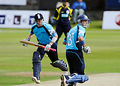 Scottish Saltires V Hampshire Royals, CB40 series, at Mannofield, Aberdeen - Scots batsman Gavin Hamilton (nearest camera), playing his final two matches for Scotland this weekend, conpletes a run with Scots Overseas Pro, (Australia A Capt) George Bailey - Picture by Donald MacLeod 21.06.10 - mobile 07702 319 738 - words (if required) from William Dick 077707 83923