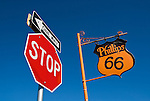 First Phillips 66 gas station in Texas built 1929, Stop and one way traffic signs, McLean, Texas.