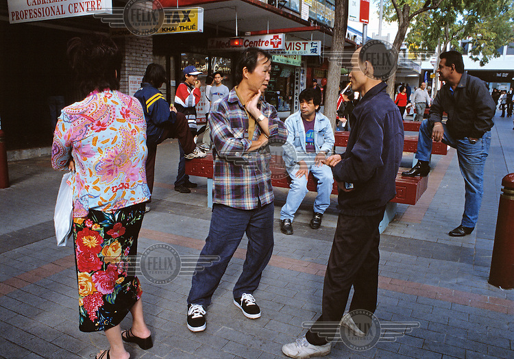 A street scene outside a shopping centre in Cabramatta, a neighbourhood in Sydney's southern suburbs largely populated by migrants.