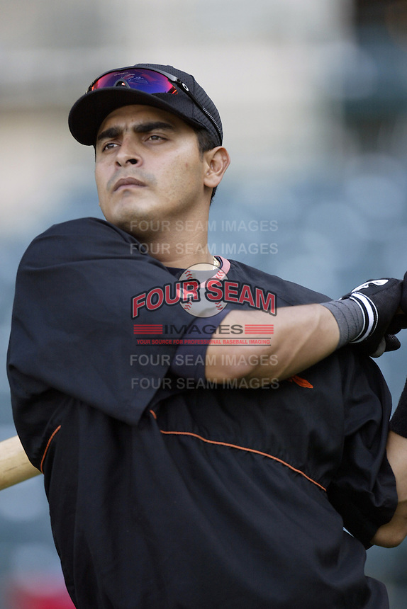 Geronimo Gil of the Baltimore Orioles before a 2002 MLB season game against the Los Angeles Angels at Angel Stadium, in Los Angeles, California. (Larry Goren/Four Seam Images)