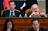 United States Representative F. James Sensenbrenner (Republican of Wisconsin), upper right, yawns during a US House Judiciary Committee hearing on the impeachment of US President Donald Trump on Capitol Hill in Washington, DC, December 4, 2019.  Looking on at upper left is Republican Counsel Paul Taylor.<br /> Credit: Saul Loeb / Pool via CNP