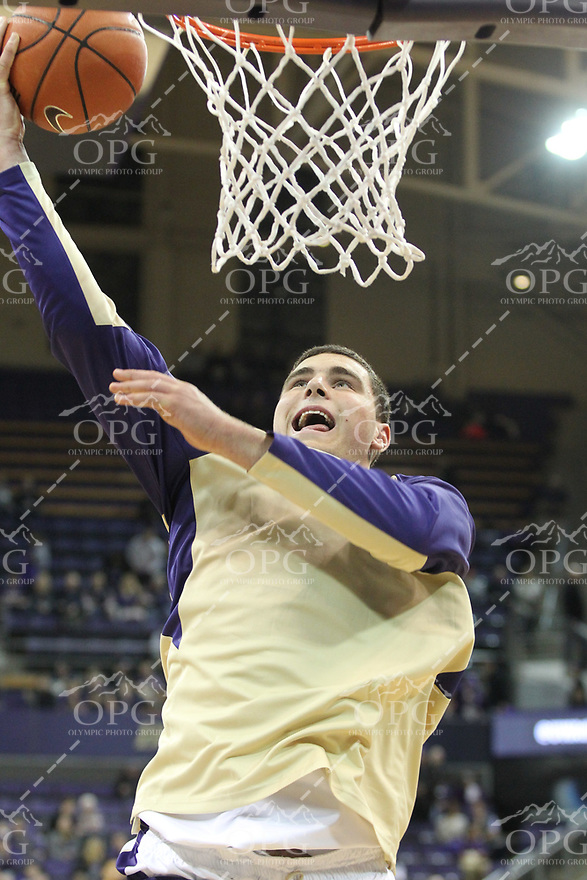 JAN 1, 2016:  Washington's Sam Timmins against UCLA.  Washington defeated #25 ranked UCLA 96-93 in double overtime at Alaska Airlines Arena in Seattle, WA.