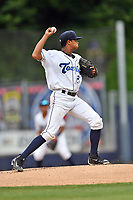 Asheville Tourists starting pitcher Erick Julio (29) attempts a pickoff at second base during a game against the Lexington Legends at McCormick Field on May 29, 2017 in Asheville, North Carolina. The Legends defeated the Tourists 6-2. (Tony Farlow/Four Seam Images)