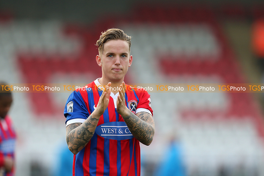 Jordan Maguire-Drew of Dagenham applauds the fans after Dagenham & Redbridge vs Forest Green Rovers, Vanarama National League Football at the Chigwell Construction Stadium on 11th March 2017