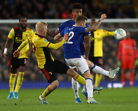 29th October 2019; Goodison Park, Liverpool, Merseyside, England; English Football League Cup, Carabao Cup Football, Everton versus Watford; Will Hughes of Watford competes for the ball with Lucas Digne of Everton - Strictly Editorial Use Only. No use with unauthorized audio, video, data, fixture lists, club/league logos or 'live' services. Online in-match use limited to 120 images, no video emulation. No use in betting, games or single club/league/player publications