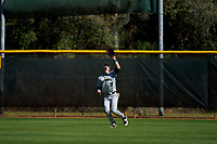 Dartmouth Big Green outfielder Trevor Johnson (36) catches a fly ball during a game against the Omaha Mavericks on February 23, 2020 at North Charlotte Regional Park in Port Charlotte, Florida.  Dartmouth defeated Omaha 8-1.  (Mike Janes/Four Seam Images)