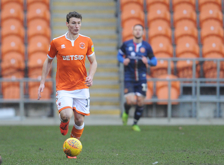 Blackpool's Matthew Virtue<br /> <br /> Photographer Kevin Barnes/CameraSport<br /> <br /> The EFL Sky Bet League One - Blackpool v Walsall - Saturday 9th February 2019 - Bloomfield Road - Blackpool<br /> <br /> World Copyright © 2019 CameraSport. All rights reserved. 43 Linden Ave. Countesthorpe. Leicester. England. LE8 5PG - Tel: +44 (0) 116 277 4147 - admin@camerasport.com - www.camerasport.com