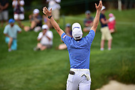 Bethesda, MD - July 2, 2017: Peter Malnati celebrates a birdie on seventeen by throwing his club into the air during final round of professional play at the Quicken Loans National Tournament at TPC Potomac at Avenel Farm in Bethesda, MD.  (Photo by Phillip Peters/Media Images International)