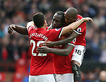 Henrikh Mkhitaryan of Manchester United celebrates his goal with Romelu Lukaku and Ashley Young of Manchester United during the premier league match at the Old Trafford Stadium, Manchester. Picture date 17th September 2017. Picture credit should read: Simon Bellis/Sportimage