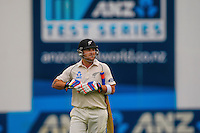 Brendon McCullum walks off after his dismissal during day one of the 2nd cricket test match between the New Zealand Black Caps and Sri Lanka at the Hawkins Basin Reserve, Wellington, New Zealand on Saturday, 3 February 2015. Photo: Dave Lintott / lintottphoto.co.nz