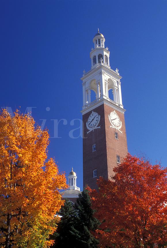 college, clock tower, church, University of Vermont, Burlington, VT, Vermont, Ira Adler Chapel in the fall on the University of Vermont campus.