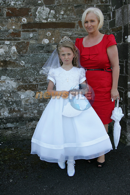 Cathy Mulready, who made her First Communion on Saturday at Clogherhead church, pictured with mum Catriona.