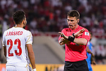 FIFA Referee Tantashev Ilgiz of Uzbekistan (R) speaks to Jamal Rashed Abdulrahman of Bahrain (L) during the AFC Asian Cup UAE 2019 Group A match between India (IND) and Bahrain (BHR) at Sharjah Stadium on 14 January 2019 in Sharjah, United Arab Emirates. Photo by Marcio Rodrigo Machado / Power Sport Images