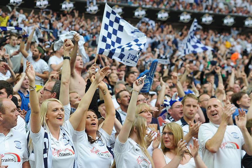 Preston North End fans Celebrate their side victory <br /> <br /> Photographer Craig Thomas/CameraSport<br /> <br /> Football - The Football League Sky Bet League One Play-Off Final - Preston North End v Swindon Town - Sunday 24th May 2015 - Wembley Stradium - London<br /> <br /> &copy; CameraSport - 43 Linden Ave. Countesthorpe. Leicester. England. LE8 5PG - Tel: +44 (0) 116 277 4147 - admin@camerasport.com - www.camerasport.com