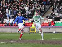 Fiacre Kelleher and Ryan Hardie go for the ball in the Celtic v Rangers City of Glasgow Cup Final match played at Firhill Stadium, Glasgow on 29.4.13,  organised by the Glasgow Football Association and sponsored by City Refrigeration Holdings Ltd.