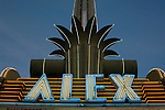 Neon sign at the art deco Alex Theater in Glendale. CA