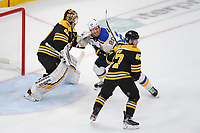 June 6, 2019: St. Louis Blues left wing Alexander Steen (20) works between Boston Bruins goaltender Tuukka Rask (40) and defenseman Torey Krug (47) during game 5 of the NHL Stanley Cup Finals between the St Louis Blues and the Boston Bruins held at TD Garden, in Boston, Mass. The Blues defeat the Bruins 2-1 in regulation time. Eric Canha/CSM